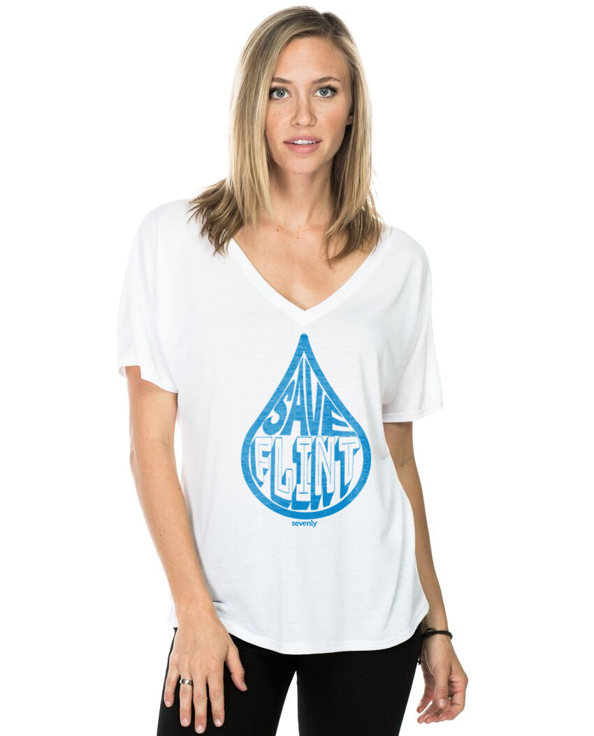 Save Flint Water -  Women's White Flowy Vneck