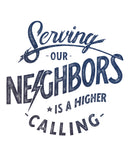 SERVING OUR NEIGHBORS IS A HIGHER CALLING Unisex White Eco-Jersey Football T-Shirt