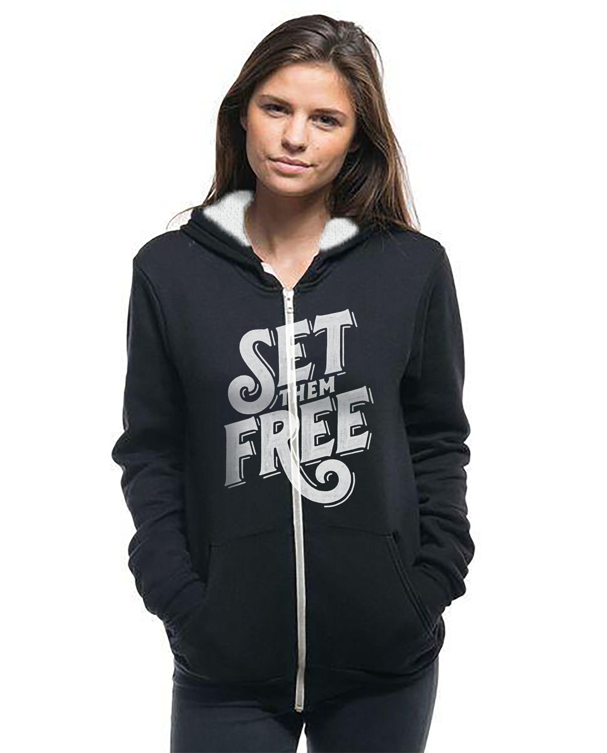 SET THEM FREE - Women's Sherpa Lined Full Zip Hoodie