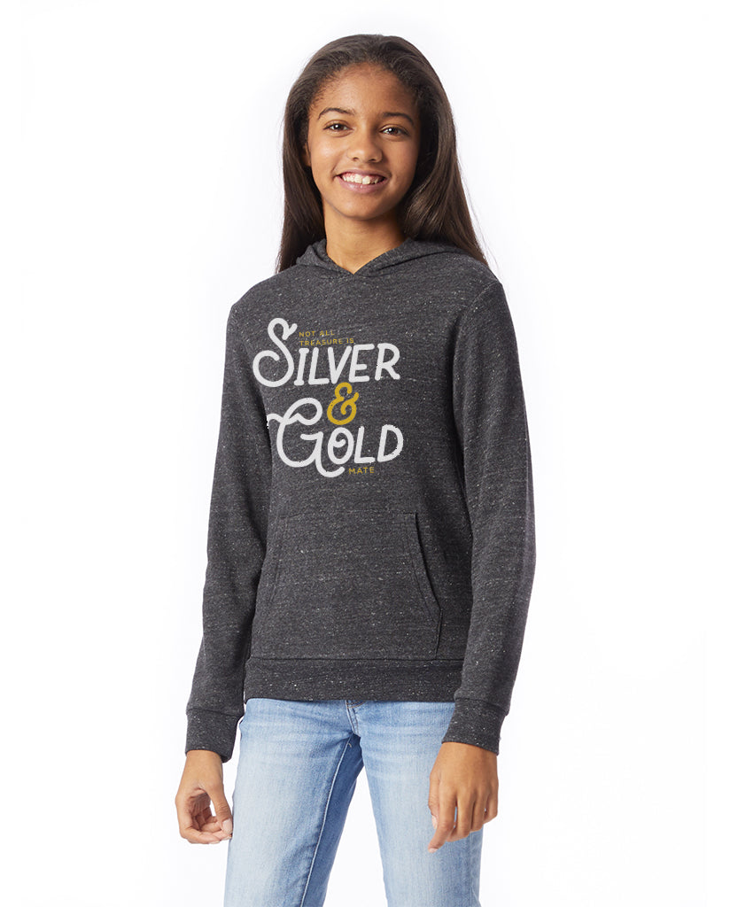 Silver & Gold - Girl's Premium Grey Pull Over Hooded Sweatshirt