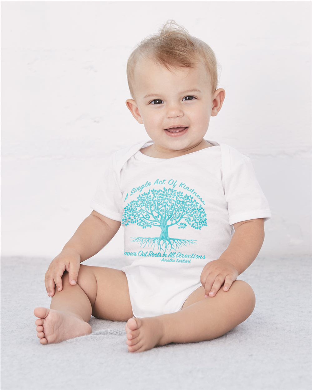 Single Act Of Kindness Baby Cozy Graphic Tee Onesie in White