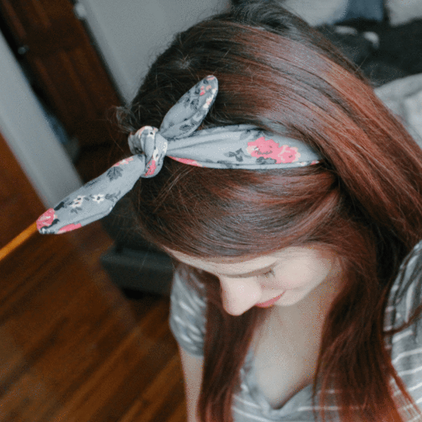 Grey Floral Knotted by Headbands of Hope