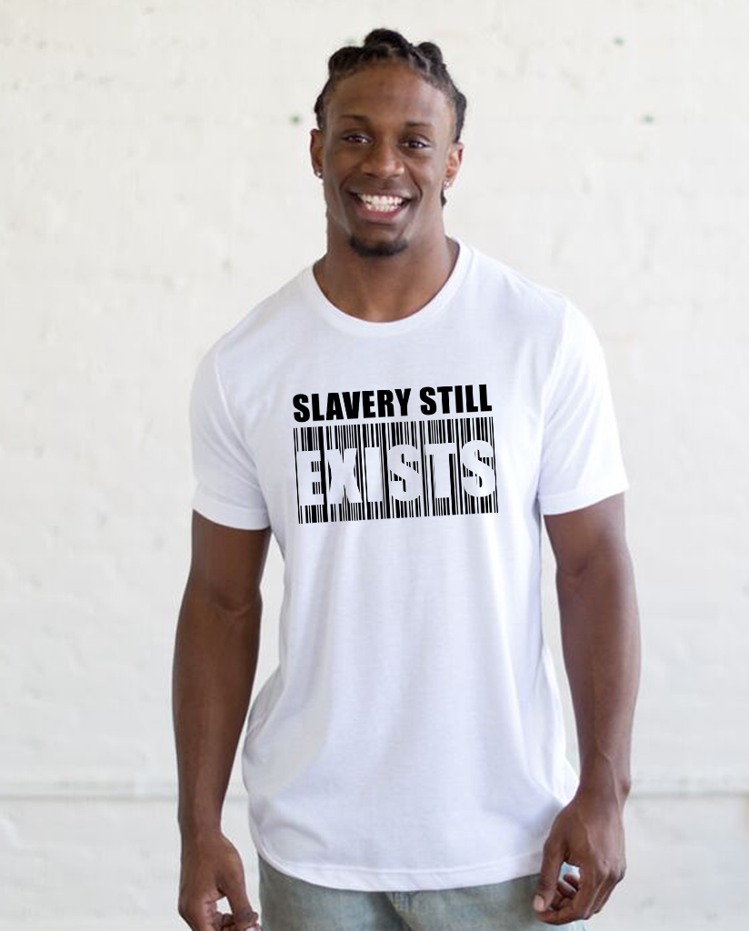 SLAVERY STILL EXISTS Unisex White Short Sleeve Tee