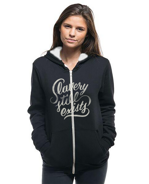 SLAVERY STILL EXISTS - Women's Sherpa Lined Full Zip Hoodie
