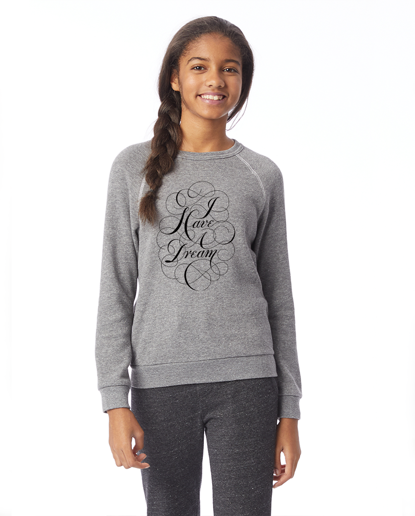MLK I Have A Dream Script - Girl's Premium Grey Crew Neck Sweatshirt
