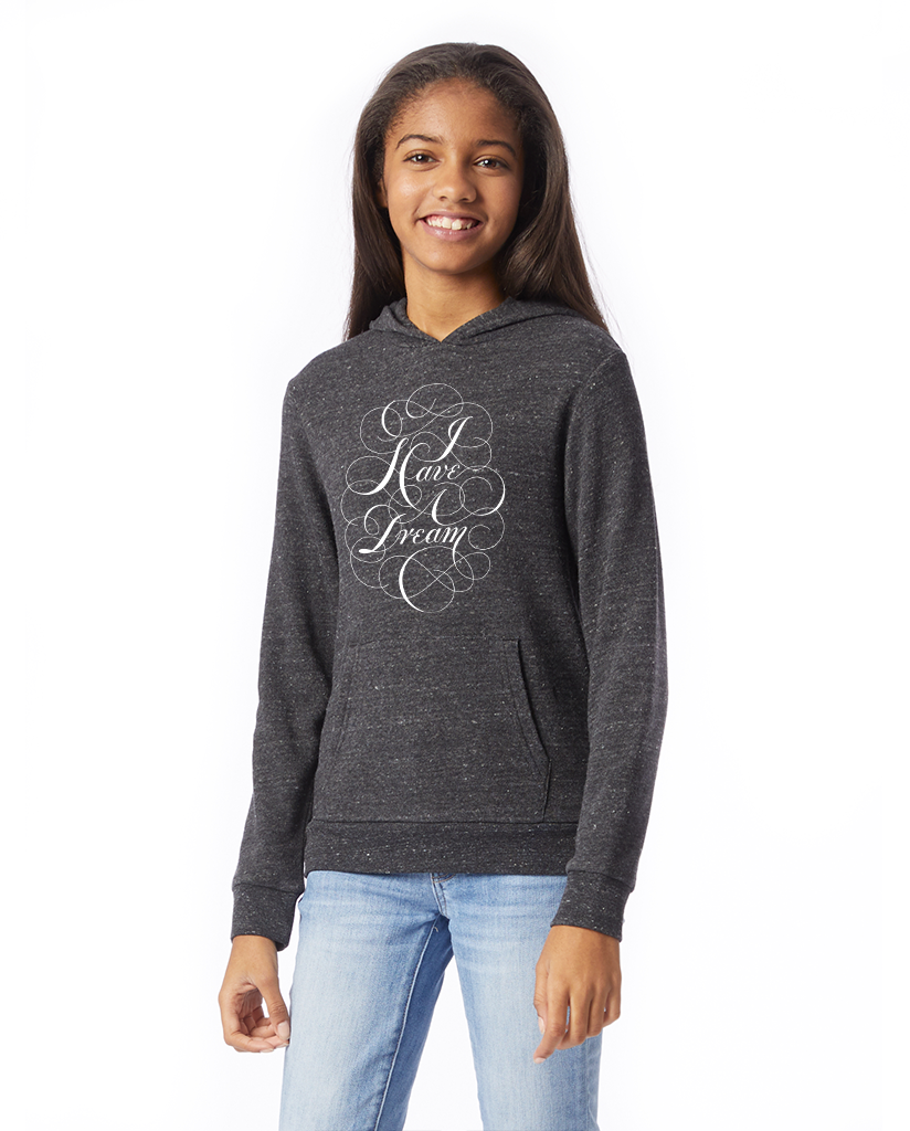 MLK I Have A Dream Script - Girl's Premium Grey Pull Over Hooded Sweatshirt