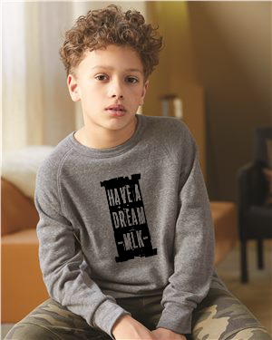 MLK I Have A Dream - Boy's Premium Grey Crew Neck Sweatshirt
