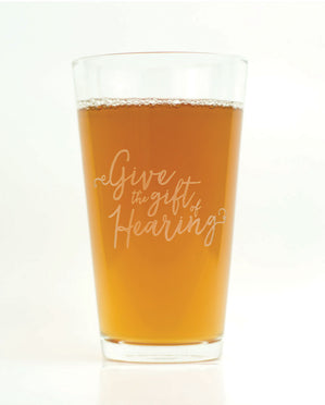 Hand-Etched, Limited Edition GIVE HEARING Glassware