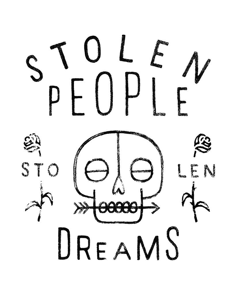 STOLEN PEOPLE STOLEN DREAMS Mens Blue Premium Fitted Tee