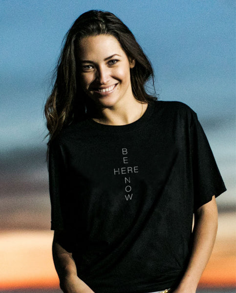 BE HERE NOW Unisex Black Triblend Short Sleeve Tee by Tech Wellness