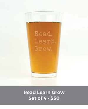 Special Edition 4-Pack READ LEARN GROW Teacher's Glassware Set