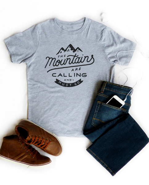 Environment - The Mountains Are Calling - Kids Heather Grey Short Sleeve Tee