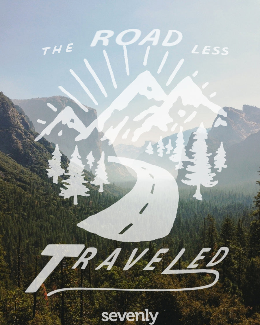 The Road Less Traveled (Black) Womens Flowy V-Neck In White