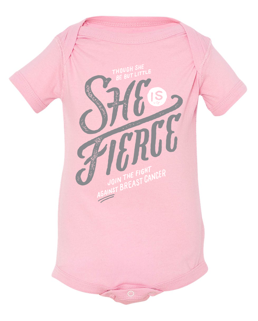 SHE IS FIERCE Breast Cancer Baby Cozy Cotton Graphic Tee Onesie