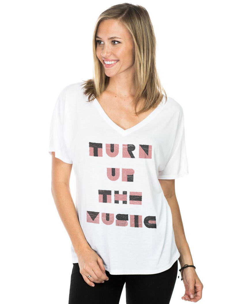 Turn Up The Music Flowy V Neck