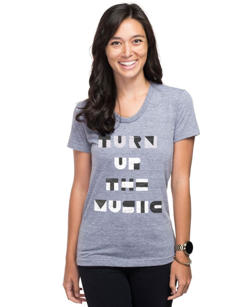 Turn Up The Music Triblend Short Sleeve Tee
