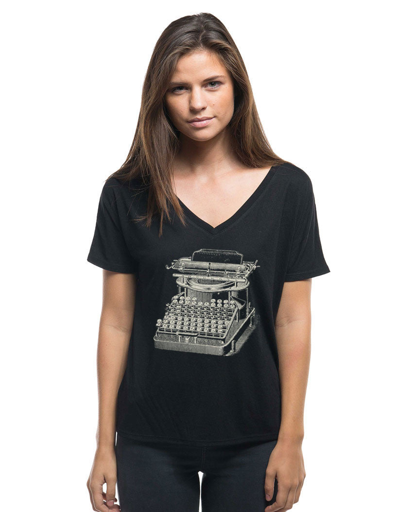 Typewriter Flowy V Neck