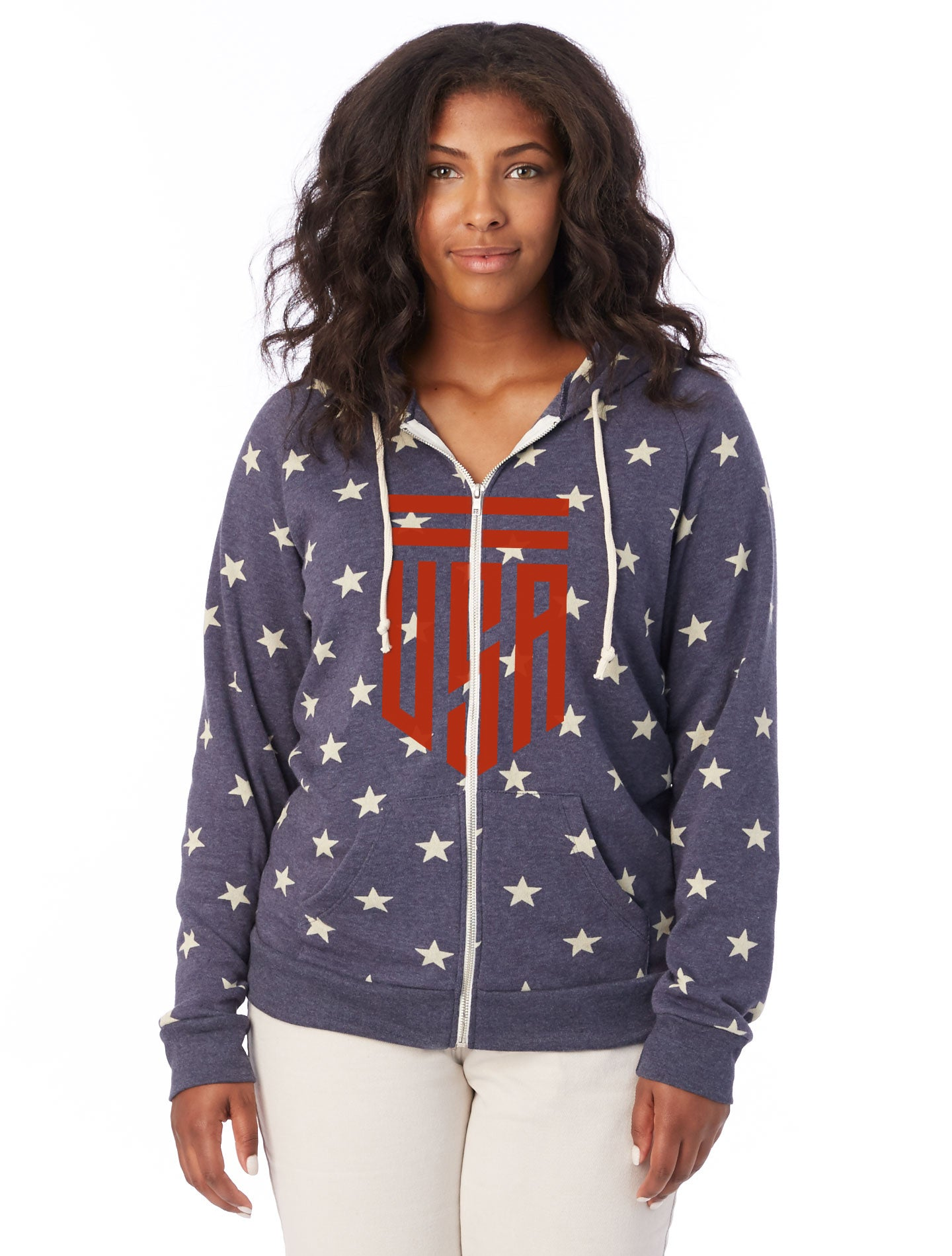 Womens USA Shield Stars Full Zip Hoodie