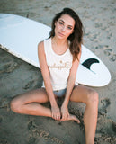 UNPLUGGED Womens White Slub Muscle Tank