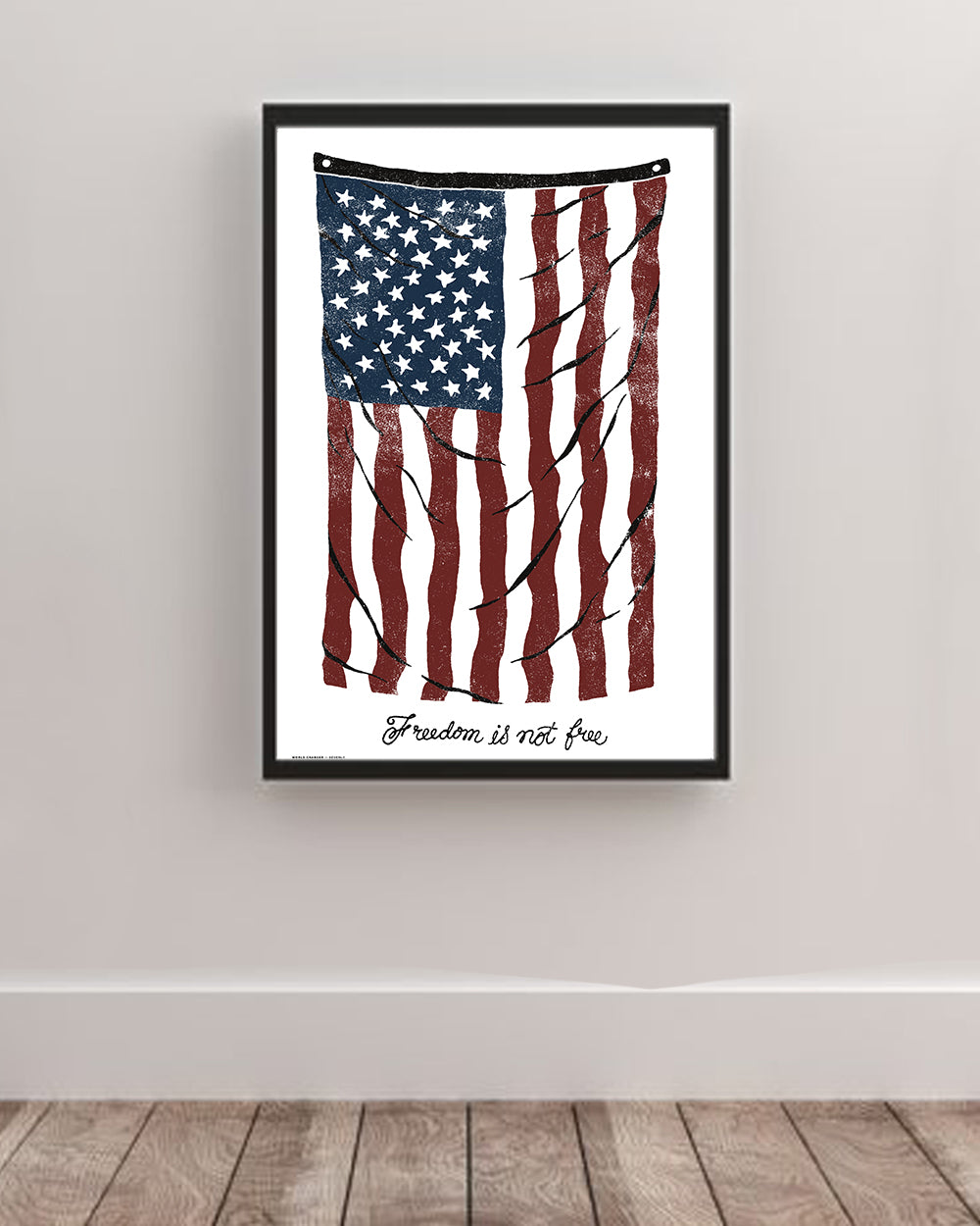 Vintage Flag Freedom Is Not Free Art Poster