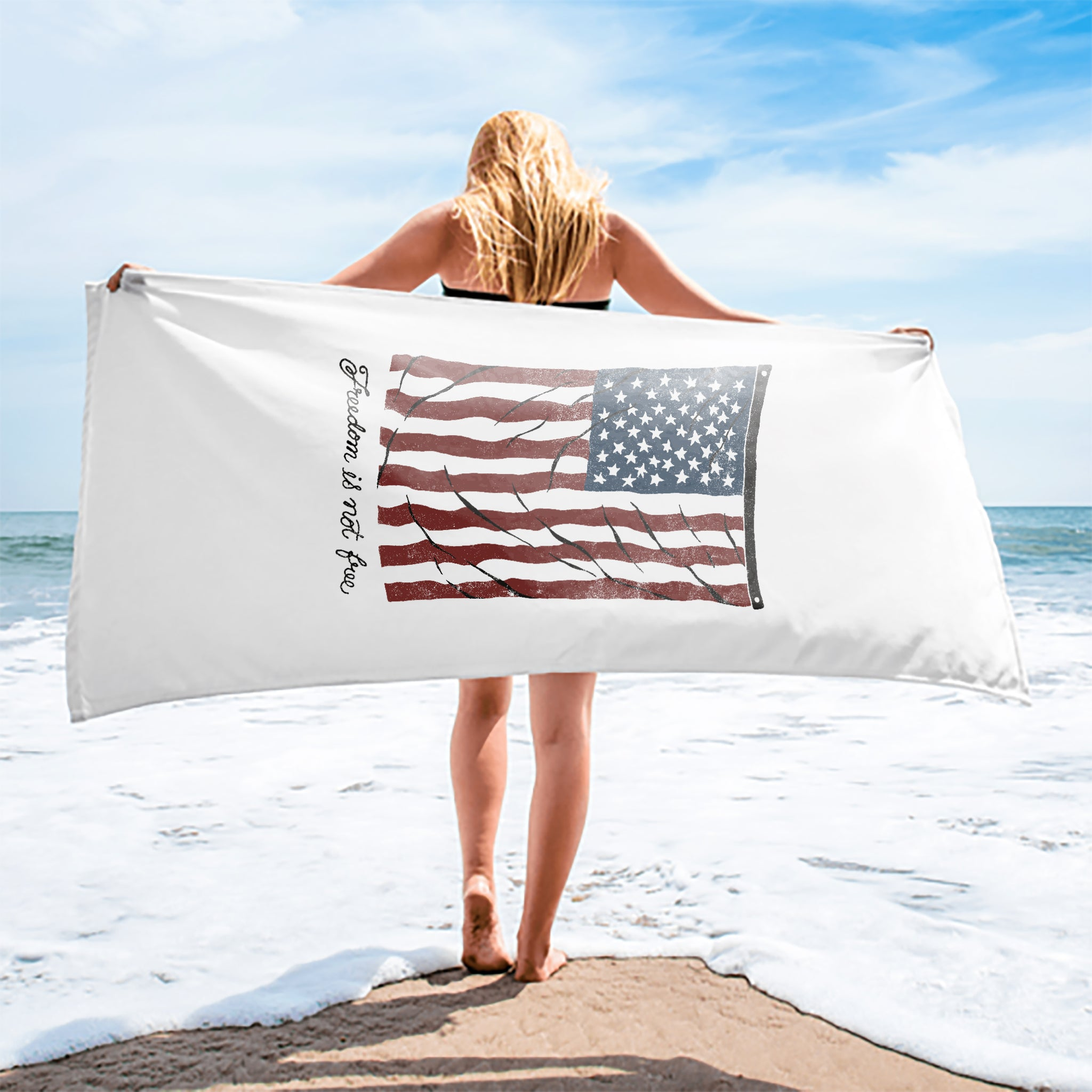 Vintage Flag Premium Cotton Velour Beach Towel