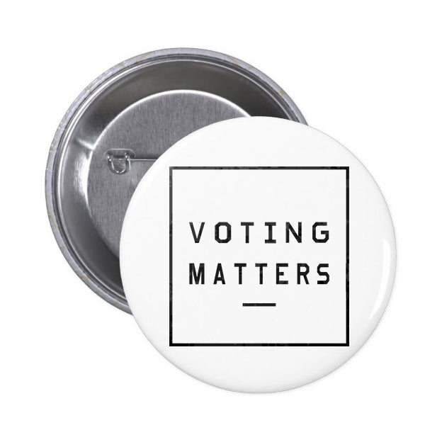 Voting Matters White Button Pin