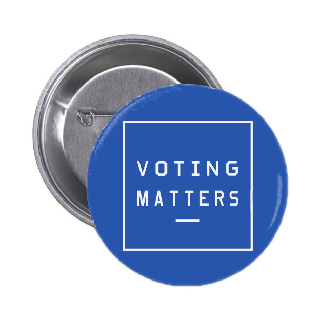 Voting Matters Blue Button Pin