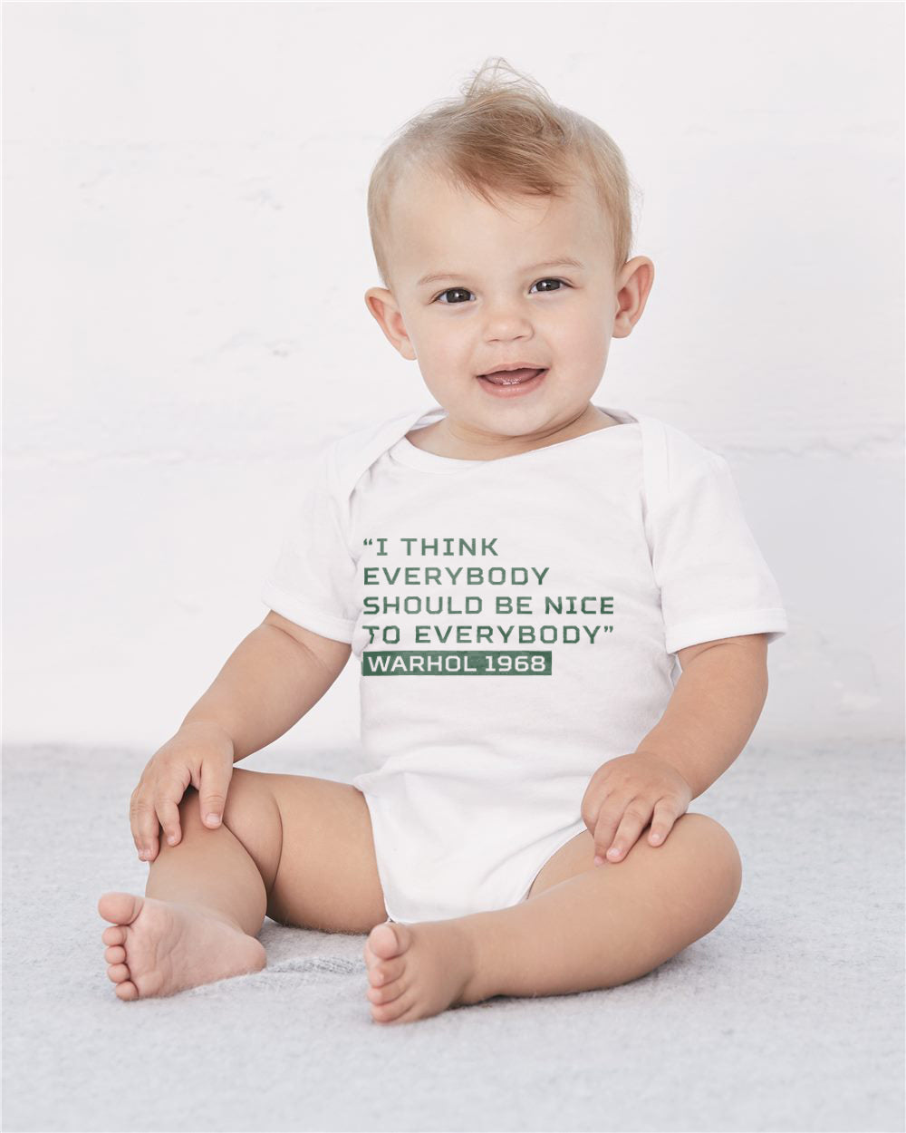 Warhol Everybody Should Be Nice Baby Cozy Graphic Tee Onesie in White