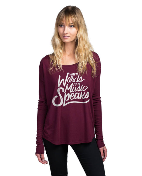 Music Speaks Flowy Long Sleeve Tee