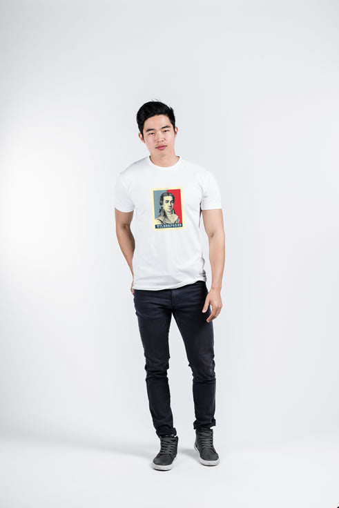 WILBERFORCE STAMP - Mens White Premium Fitted Graphic Tee