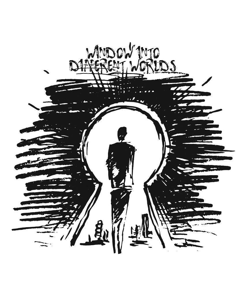 WINDOW INTO DIFFERENT WORLDS Mens White Premium Fitted Tee