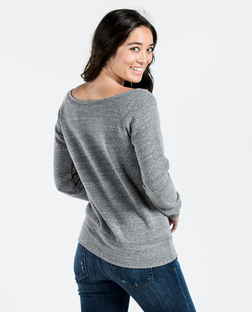 Heroes All Around - Women's Grey Triblend Slouchy Crewneck Sweatshirt