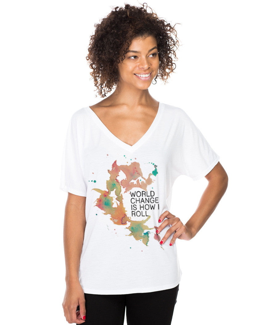 World Change Water Color Flowy V Neck