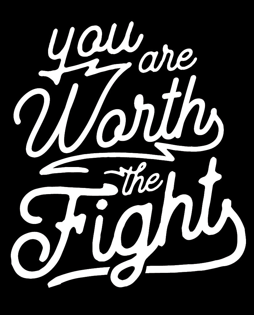 YOU ARE WORTH THE FIGHT Navy Fleece Pullover Sweatshirt