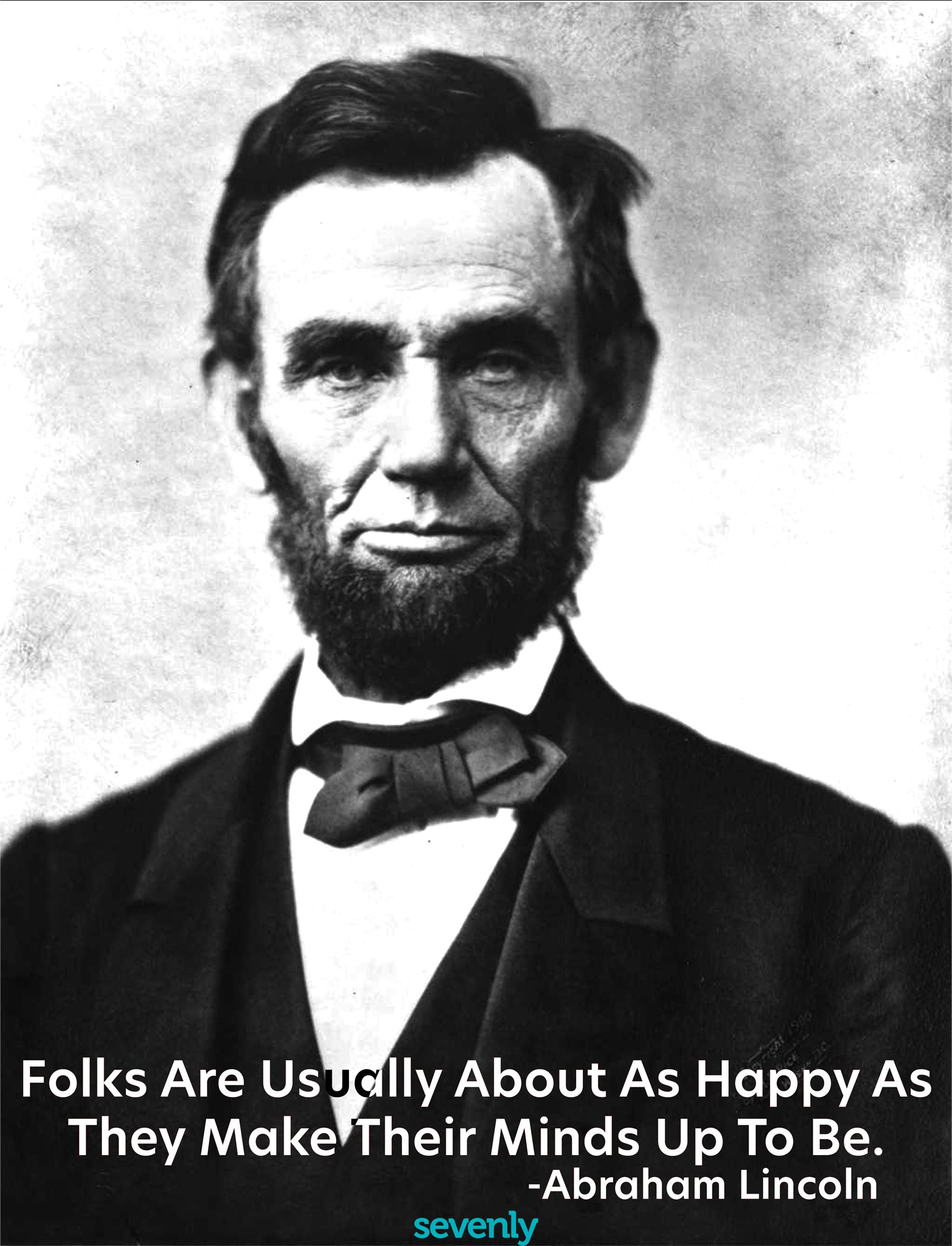 Abraham Lincoln Happiness Quote Jumbo Cotton Canvas Tote Bag