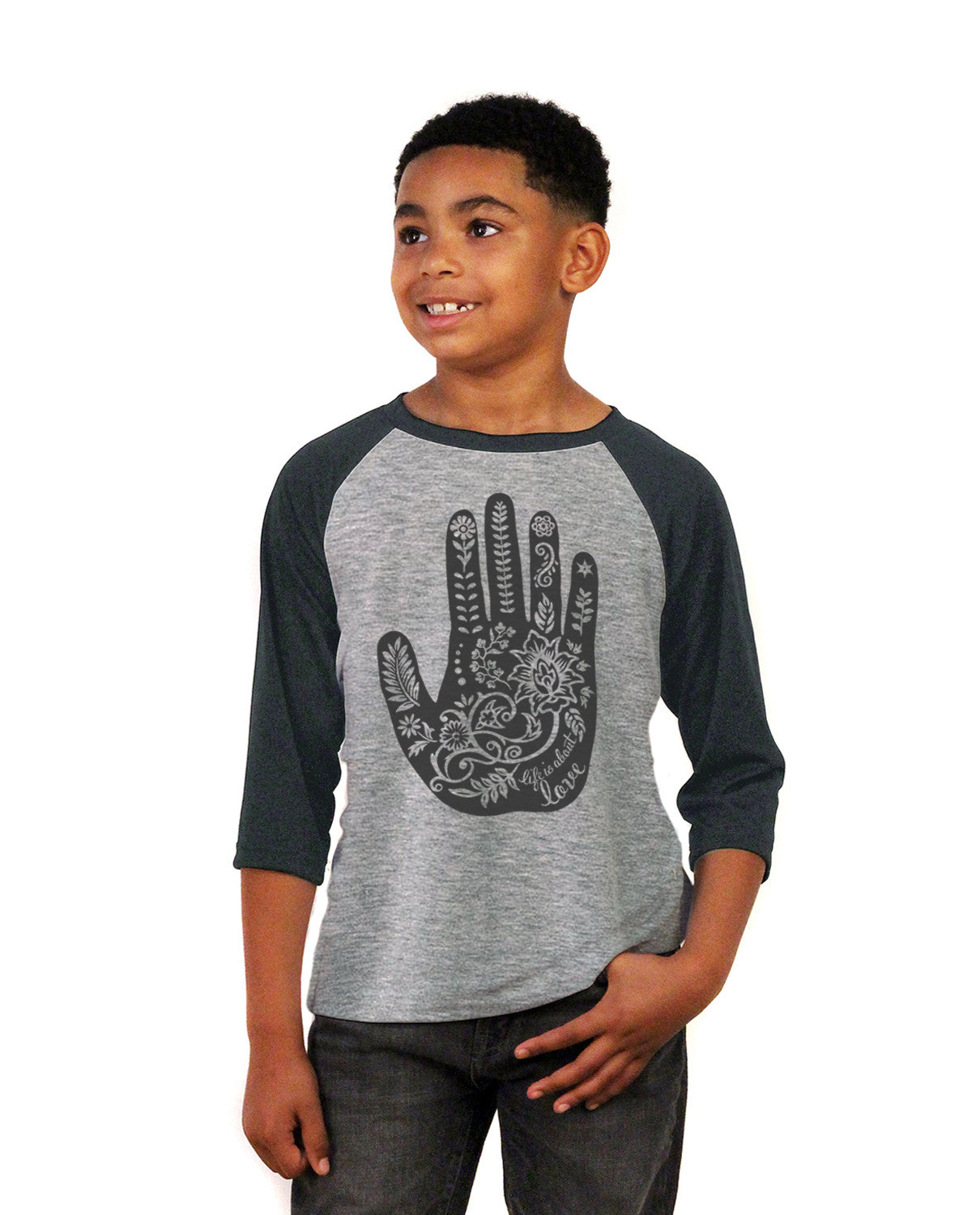 Henna Hand Youth Vintage Baseball T Shirt
