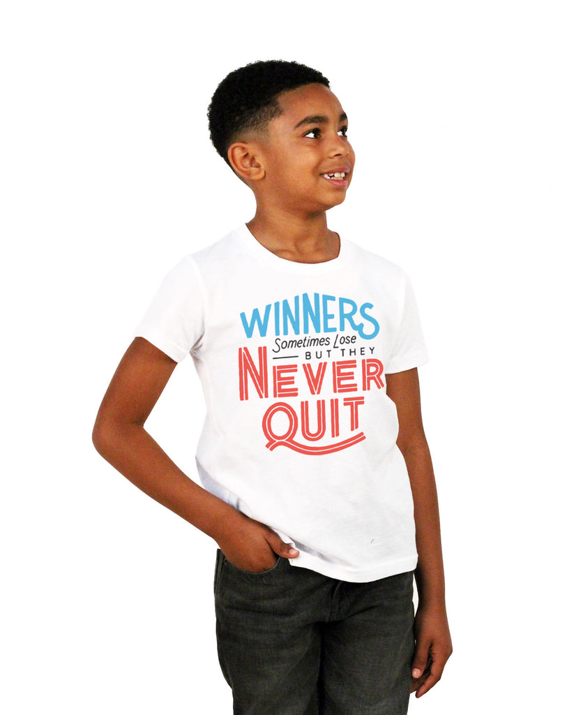 Winners Never Quit Youth Short Sleeve Tee