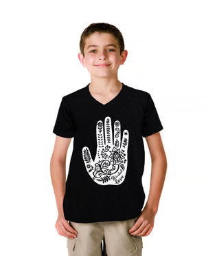 Henna Hand Youth Jersey Short Sleeve V Neck Tee