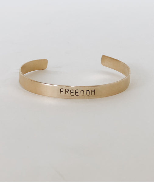 FREEDOM Hand-Stamped Brass Cuff