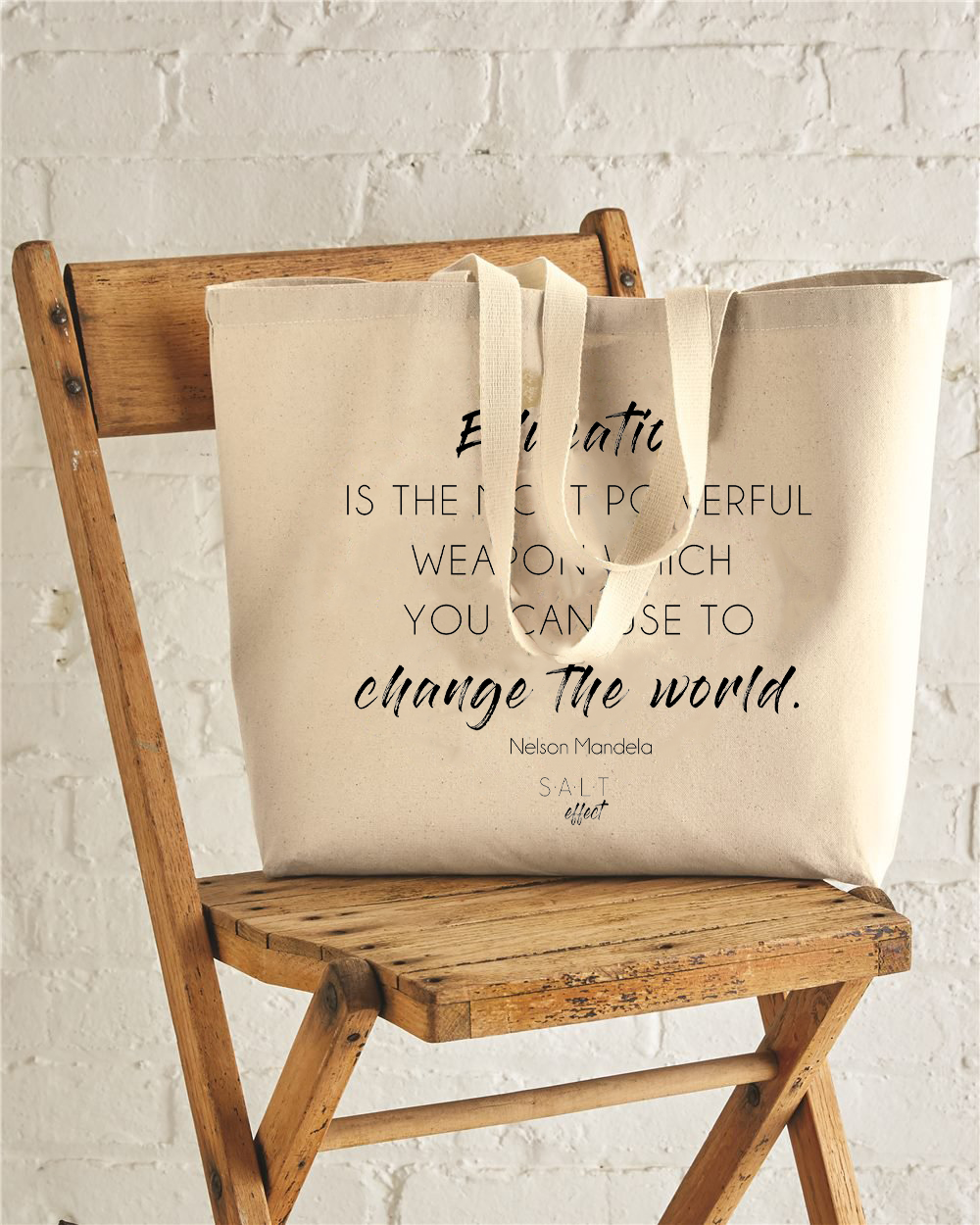 Education Changes The World Jumbo Cotton Canvas Tote Bag