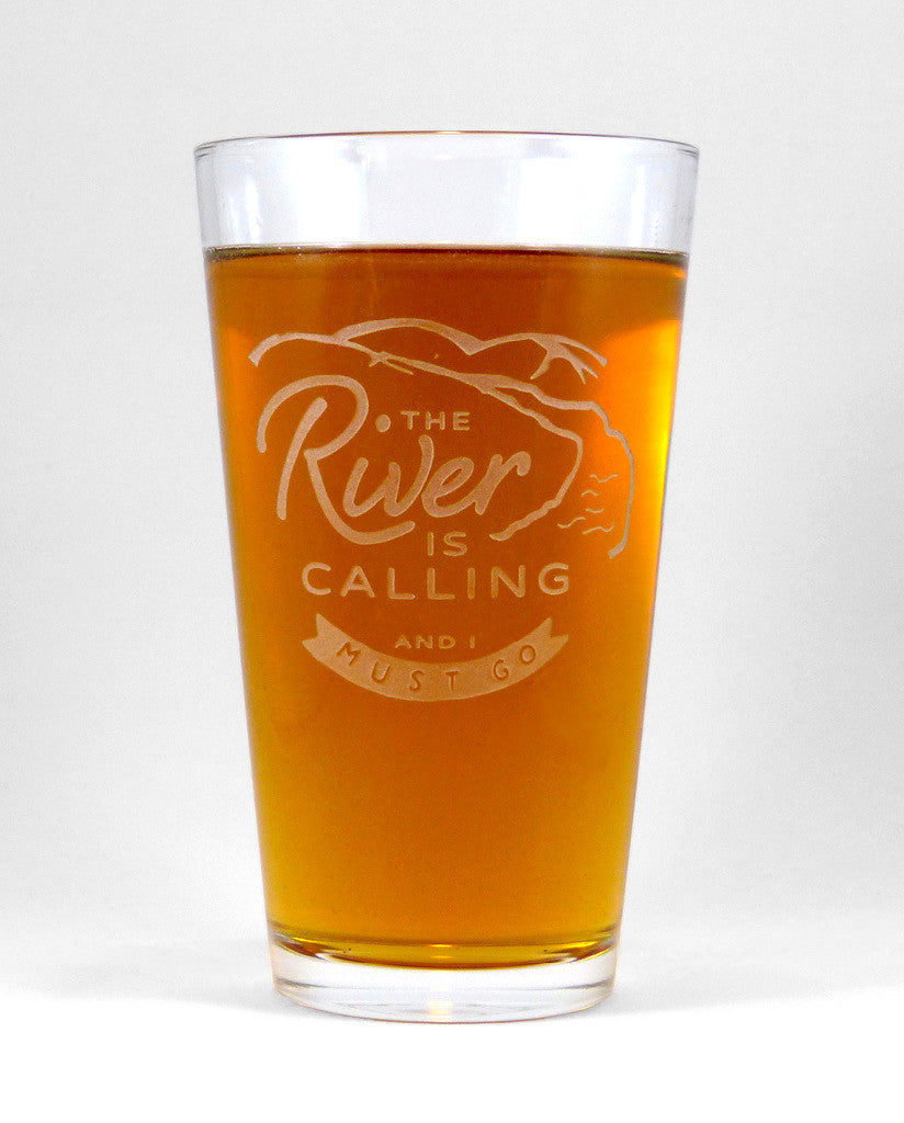 Hand-Etched, Limited Edition THE RIVER IS CALLING Glassware