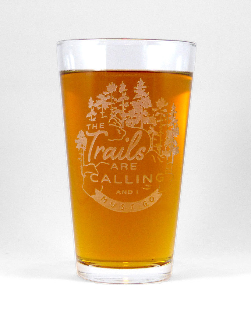 Hand-Etched, Limited Edition THE TRAILS ARE CALLING Glassware