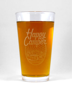 Hand-Etched, Limited Edition HAPPY CAMPER Glassware