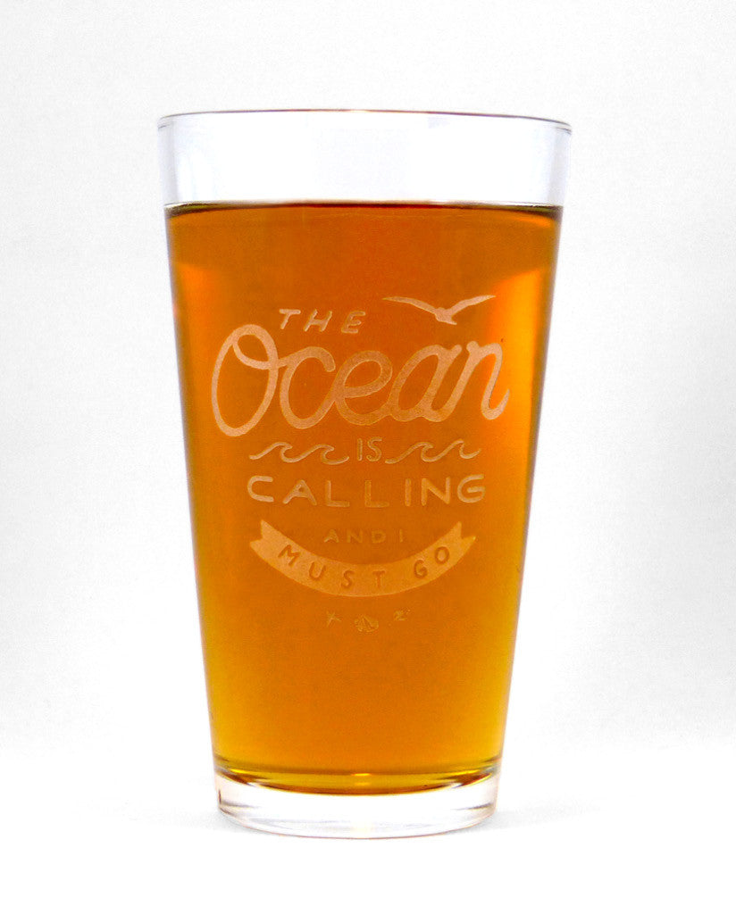 Hand-Etched, Limited Edition THE OCEAN IS CALLING Glassware