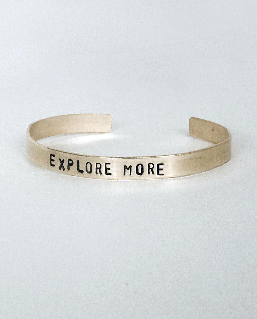 EXPLORE MORE Hand-Stamped Brass Cuff