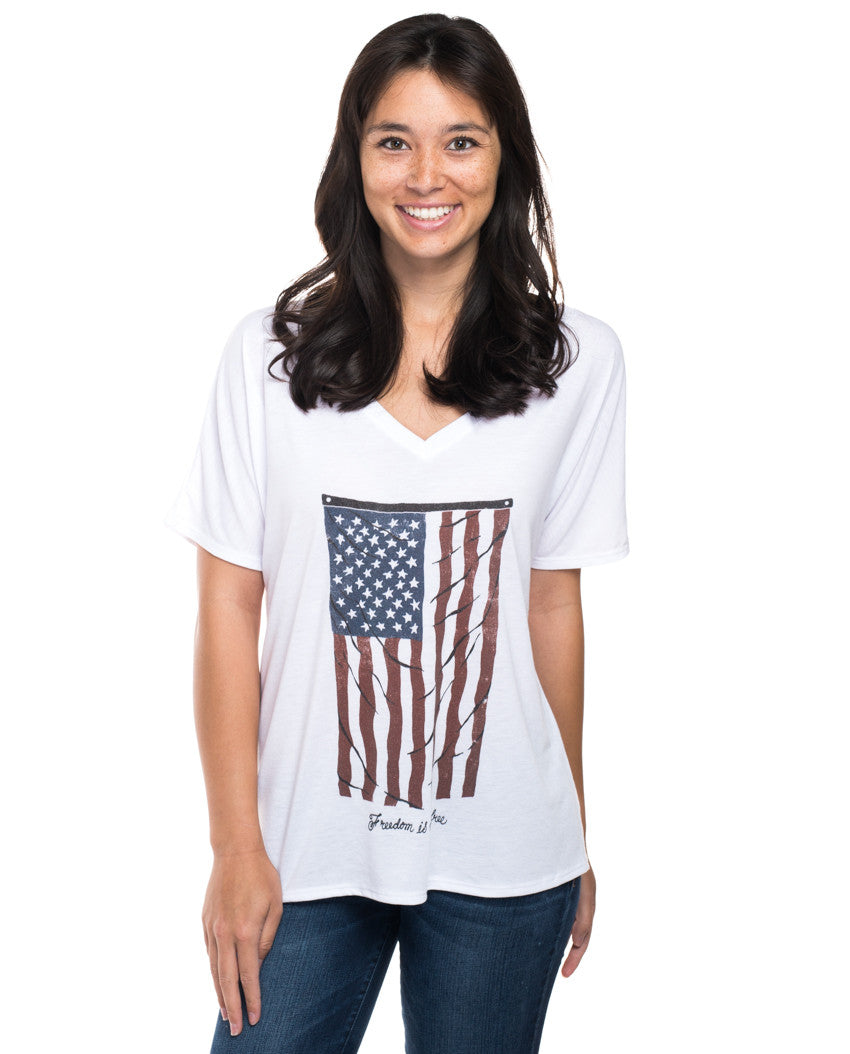 Vintage Flag Flowy V Neck