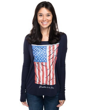 Vintage Flag Flowy Long Sleeve Tee