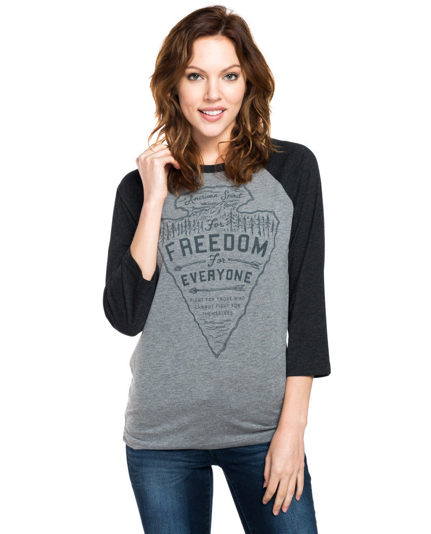 Freedom For Everyone Womens Baseball Tee