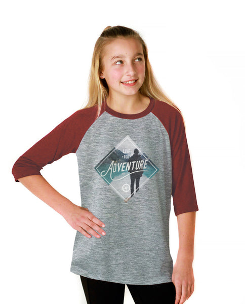 Live For Adventure Youth Vintage Baseball T Shirt
