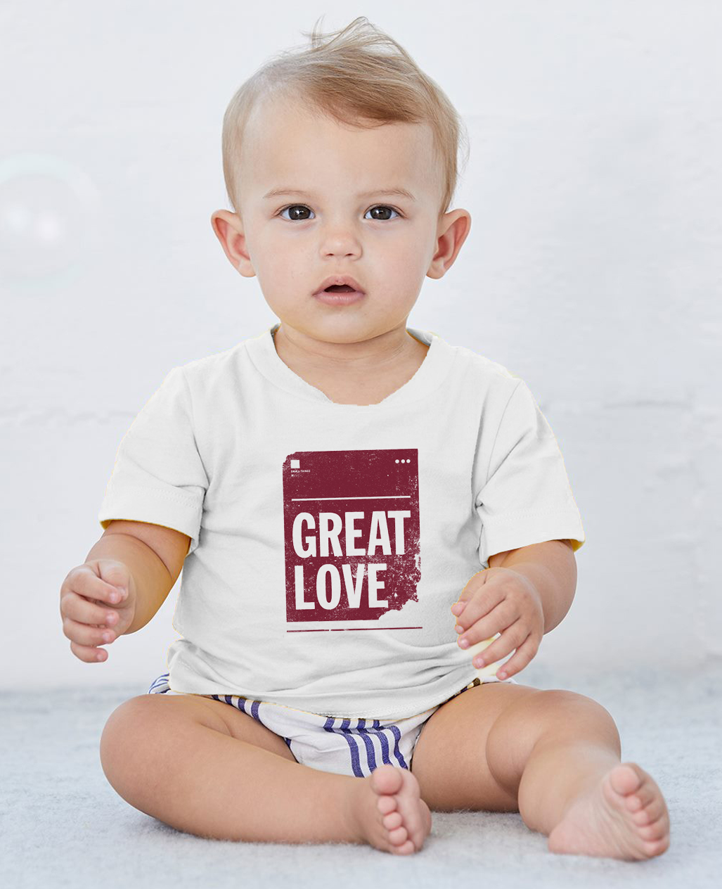 Great Love Baby Cozy Graphic Tee Onesie in White